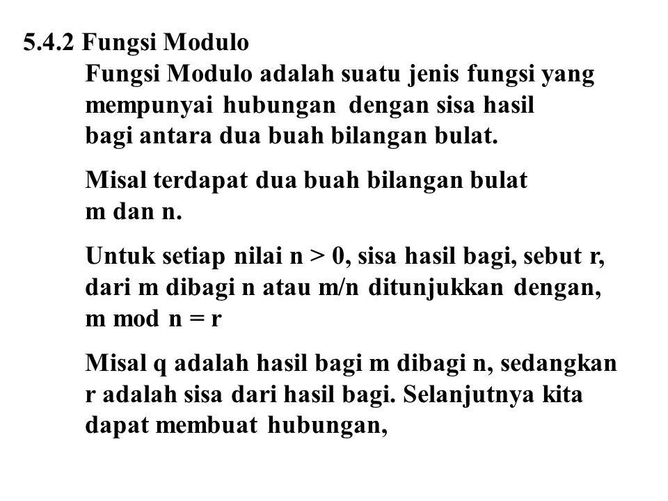 5.4.2 Fungsi Modulo Fungsi Modulo adalah suatu jenis fungsi yang mempunyai hubungan dengan sisa hasil bagi antara dua buah bilangan bulat. Misal terda