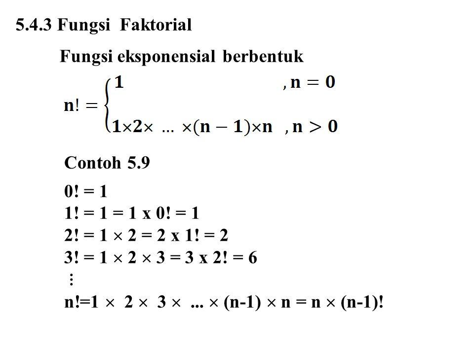 5.4.3 Fungsi Faktorial Fungsi eksponensial berbentuk Contoh 5.9 0! = 1 1! = 1 = 1 x 0! = 1 2! = 1  2 = 2 x 1! = 2 3! = 1  2  3 = 3 x 2! = 6 ⋮ n!=1