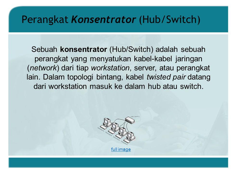 Perangkat Konsentrator (Hub/Switch) Sebuah konsentrator (Hub/Switch) adalah sebuah perangkat yang menyatukan kabel-kabel jaringan (network) dari tiap workstation, server, atau perangkat lain.
