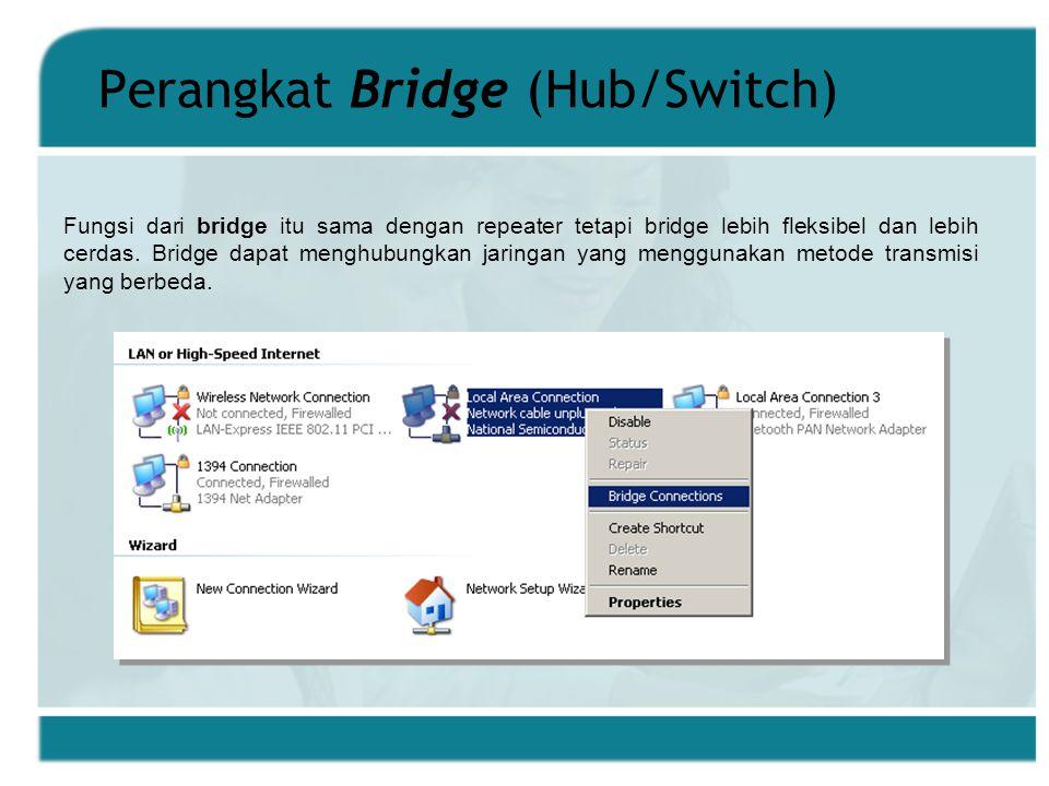 Perangkat Bridge (Hub/Switch) Fungsi dari bridge itu sama dengan repeater tetapi bridge lebih fleksibel dan lebih cerdas.
