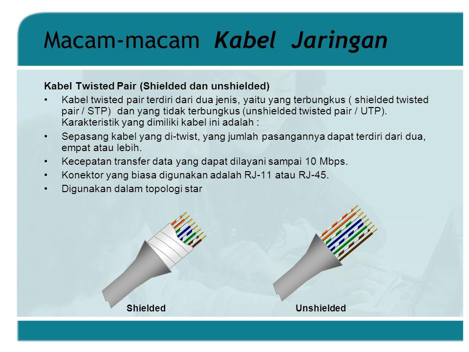 Macam-macam Kabel Jaringan Kabel Twisted Pair (Shielded dan unshielded) Kabel twisted pair terdiri dari dua jenis, yaitu yang terbungkus ( shielded twisted pair / STP) dan yang tidak terbungkus (unshielded twisted pair / UTP).
