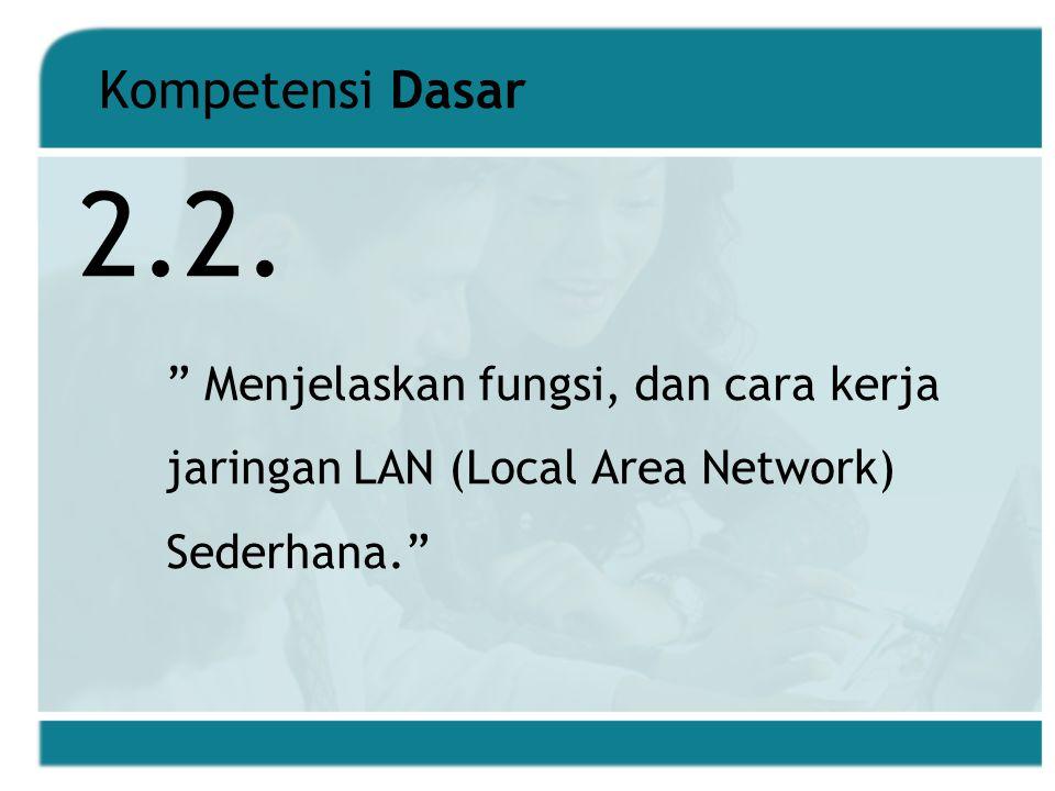 Kompetensi Dasar Menjelaskan fungsi, dan cara kerja jaringan LAN (Local Area Network) Sederhana. 2.2.
