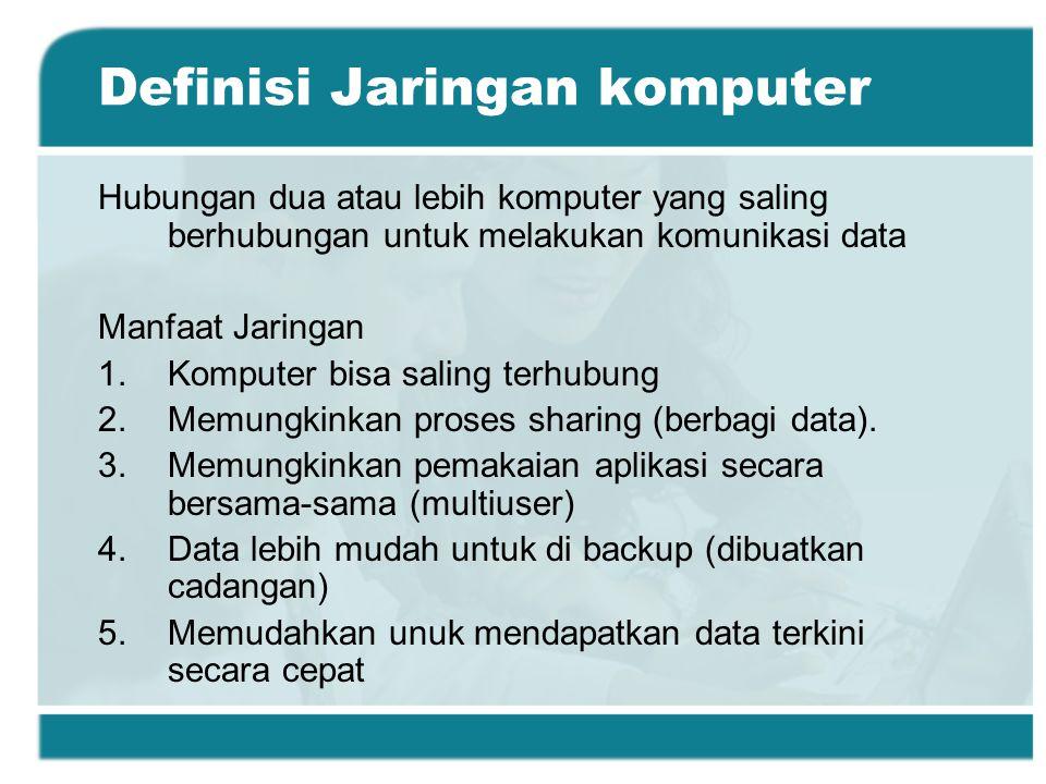 Definisi Jaringan komputer Hubungan dua atau lebih komputer yang saling berhubungan untuk melakukan komunikasi data Manfaat Jaringan 1.Komputer bisa saling terhubung 2.Memungkinkan proses sharing (berbagi data).