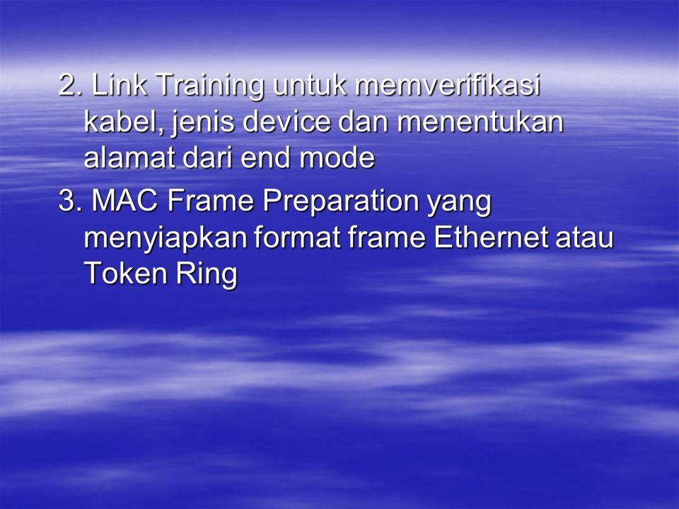 2. Link Training untuk memverifikasi kabel, jenis device dan menentukan alamat dari end mode 3. MAC Frame Preparation yang menyiapkan format frame Eth