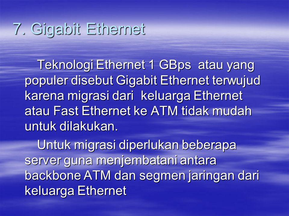 7. Gigabit Ethernet Teknologi Ethernet 1 GBps atau yang populer disebut Gigabit Ethernet terwujud karena migrasi dari keluarga Ethernet atau Fast Ethe