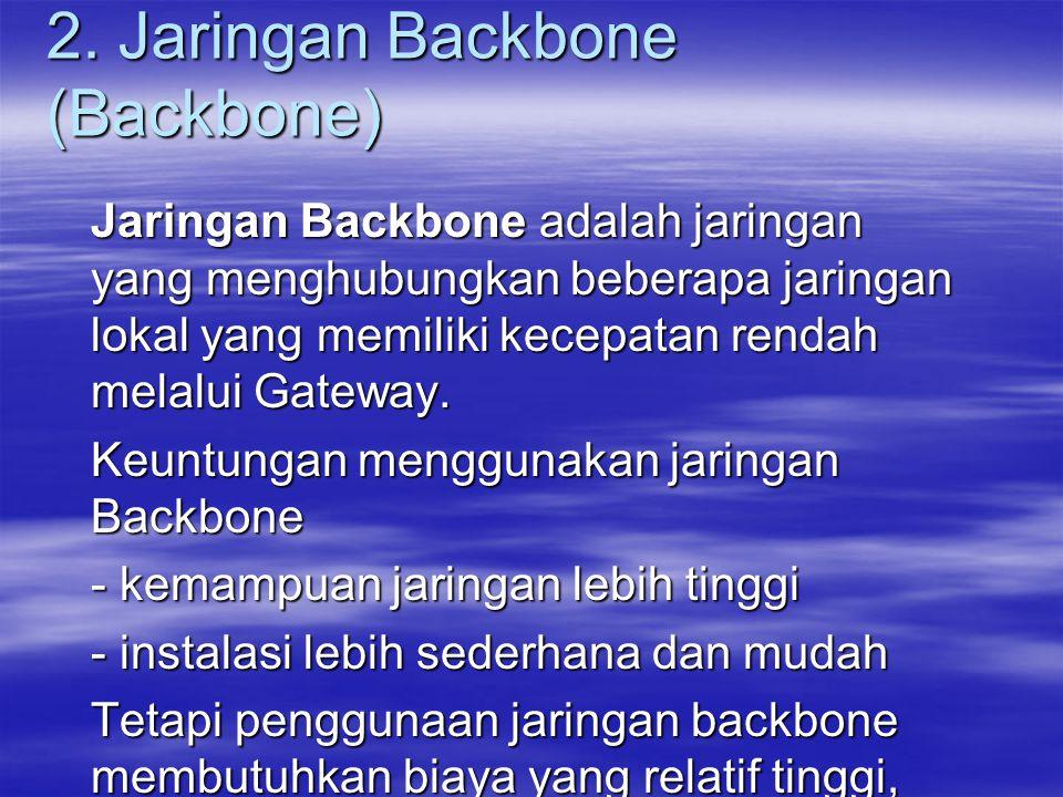 2. Jaringan Backbone (Backbone) Jaringan Backbone adalah jaringan yang menghubungkan beberapa jaringan lokal yang memiliki kecepatan rendah melalui Ga