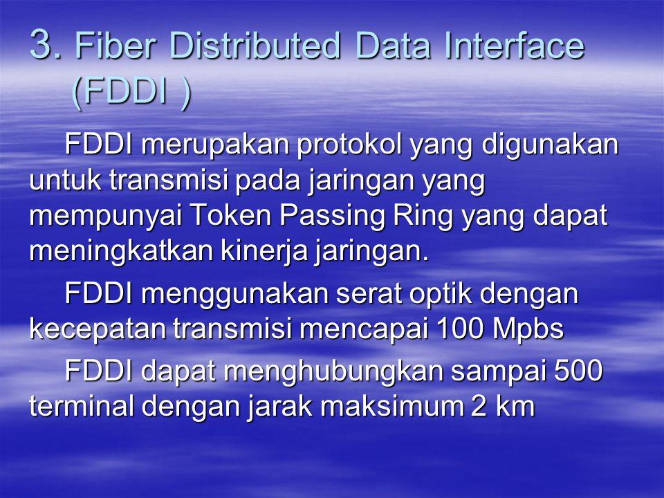 3. Fiber Distributed Data Interface (FDDI ) FDDI merupakan protokol yang digunakan untuk transmisi pada jaringan yang mempunyai Token Passing Ring yan