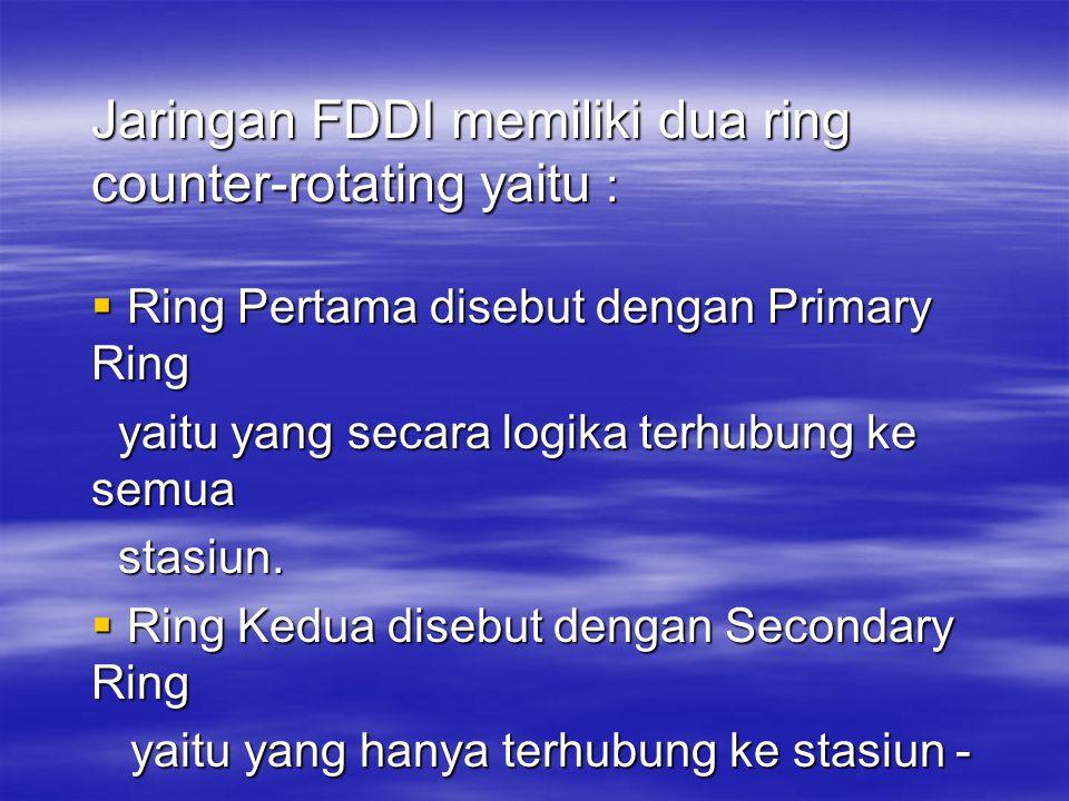 Jaringan FDDI memiliki dua ring counter-rotating yaitu :  Ring Pertama disebut dengan Primary Ring yaitu yang secara logika terhubung ke semua yaitu