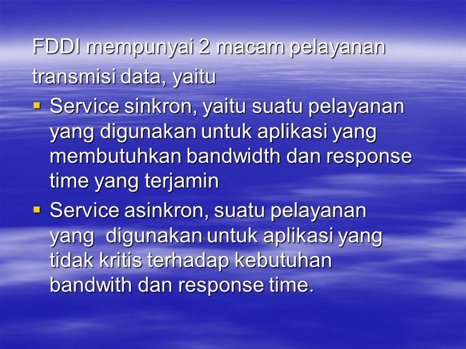 FDDI mempunyai 2 macam pelayanan transmisi data, yaitu  Service sinkron, yaitu suatu pelayanan yang digunakan untuk aplikasi yang membutuhkan bandwid