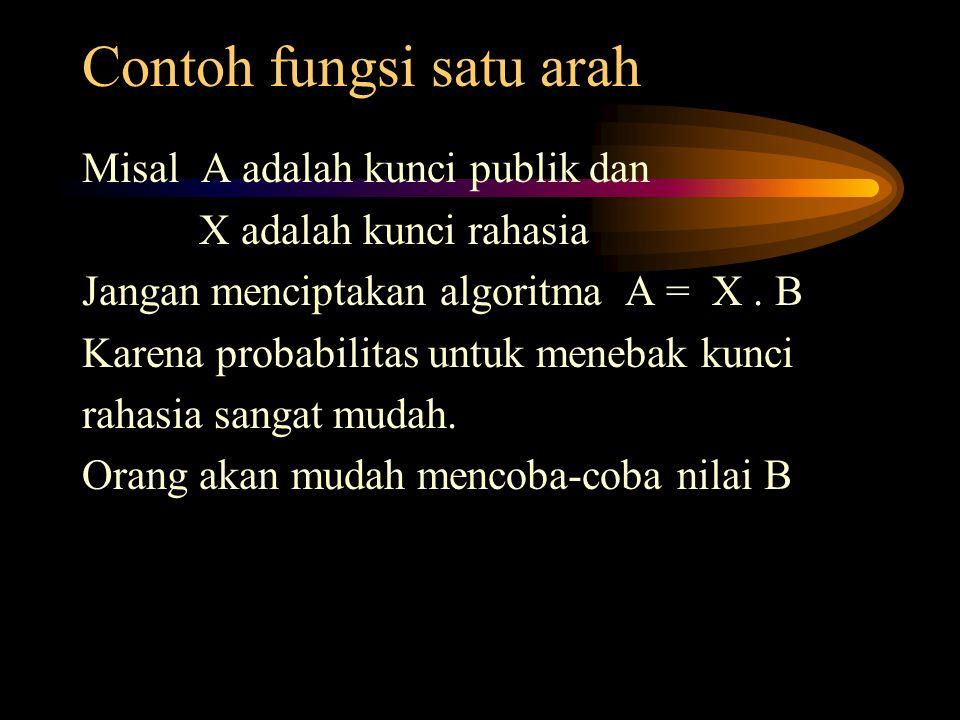 Contoh fungsi satu arah Misal A adalah kunci publik dan X adalah kunci rahasia Jangan menciptakan algoritma A = X. B Karena probabilitas untuk menebak