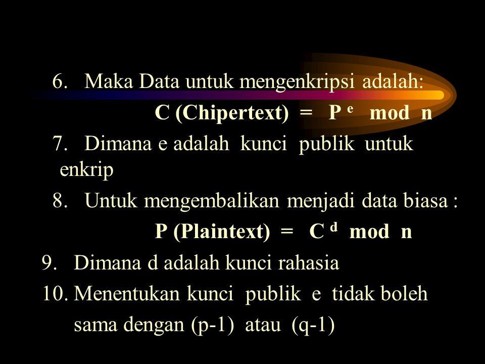 6. Maka Data untuk mengenkripsi adalah: C (Chipertext) = P e mod n 7. Dimana e adalah kunci publik untuk enkrip 8. Untuk mengembalikan menjadi data bi