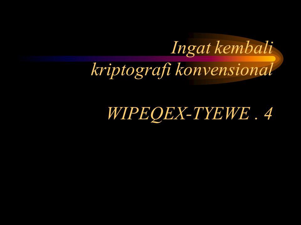 Ingat kembali kriptografi konvensional WIPEQEX-TYEWE. 4