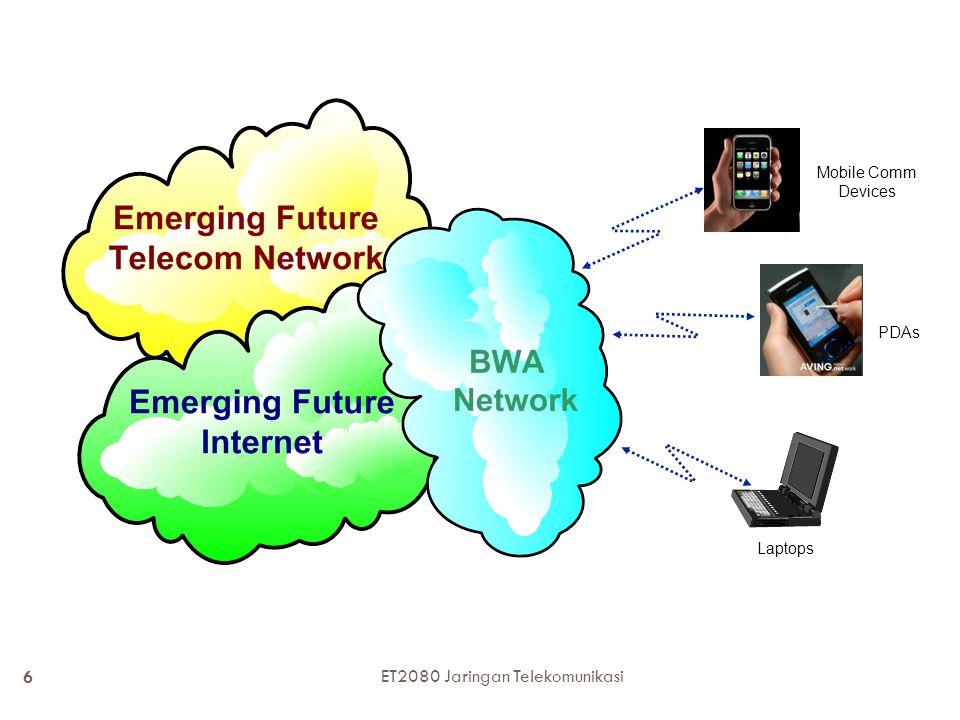 Broadband Wireless Services ApplicationDesired Bit-Rate Telephony9.6 Kbps-64 Kbps Videophone 384 Kbps - 6 Mbps E-mail Mobile Internet Access Fixed Internet Access ~ 1 Mbps peak ~ 5-10 Mbps peak ~ 10-25 Mbps peak Video-on- demand ~ 10-25 Mbps peak 7 ET2080 Jaringan Telekomunikasi