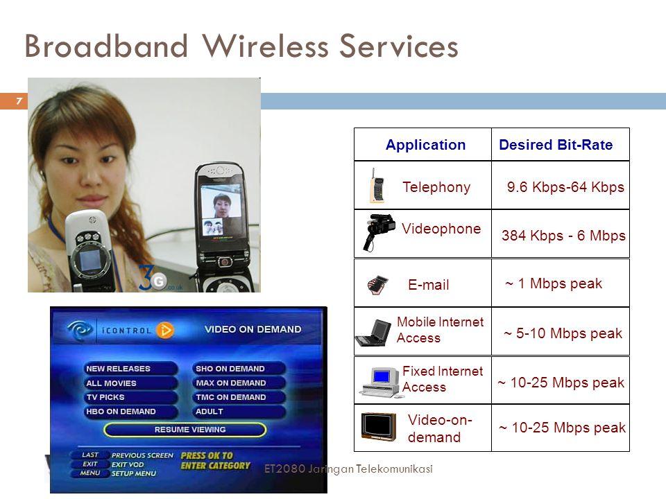 Jaringan 3G dirancang untuk  Meningkatkan secara signifikan kapasitas sistem agar melebihi generasi ke-2  Menjanjikan kecepatan: sampai 144 Kbps untuk user yang sedang menaiki mobil kecepatan tinggi sampai 384 Kbps untuk user yang sedang berjalan sampai 2 Mbps untuk user yang sedang diam  Men-support layanan berbasis IP: voice dan layanan multimedia  Terintegrasi dengan Internet  Meningkatkan kualitas layanan (Quality of Service (Qos))  Sistem 3G dirancang untuk mendukung beragam kelas layanan: real- time voice, best-effort data, streamingvideo,dan non-real-time video 28 ET2080 Jaringan Telekomunikasi