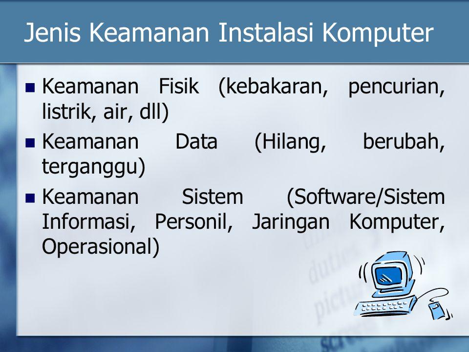Jenis Keamanan Instalasi Komputer Keamanan Fisik (kebakaran, pencurian, listrik, air, dll) Keamanan Data (Hilang, berubah, terganggu) Keamanan Sistem