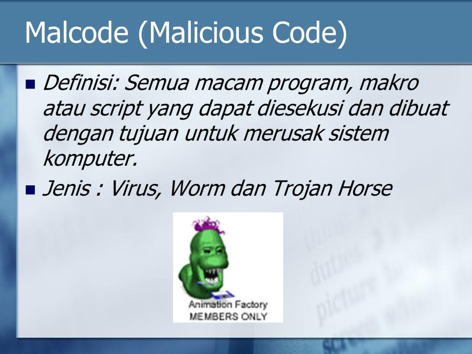 Malcode (Malicious Code) Definisi: Semua macam program, makro atau script yang dapat diesekusi dan dibuat dengan tujuan untuk merusak sistem komputer.