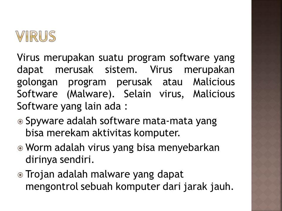 Virus merupakan suatu program software yang dapat merusak sistem.