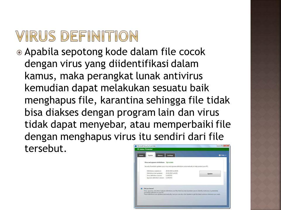  Apabila sepotong kode dalam file cocok dengan virus yang diidentifikasi dalam kamus, maka perangkat lunak antivirus kemudian dapat melakukan sesuatu baik menghapus file, karantina sehingga file tidak bisa diakses dengan program lain dan virus tidak dapat menyebar, atau memperbaiki file dengan menghapus virus itu sendiri dari file tersebut.