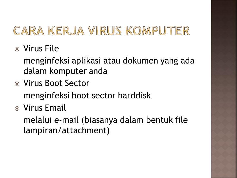  Virus File menginfeksi aplikasi atau dokumen yang ada dalam komputer anda  Virus Boot Sector menginfeksi boot sector harddisk  Virus Email melalui e-mail (biasanya dalam bentuk file lampiran/attachment)