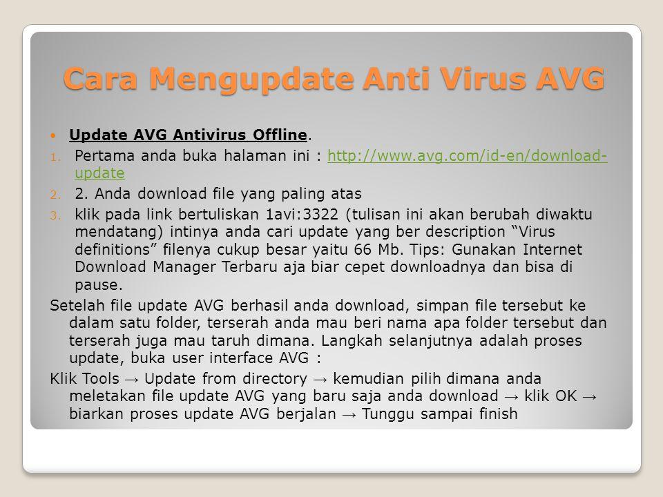 Cara Mengupdate Anti Virus AVG Update AVG Antivirus Offline.