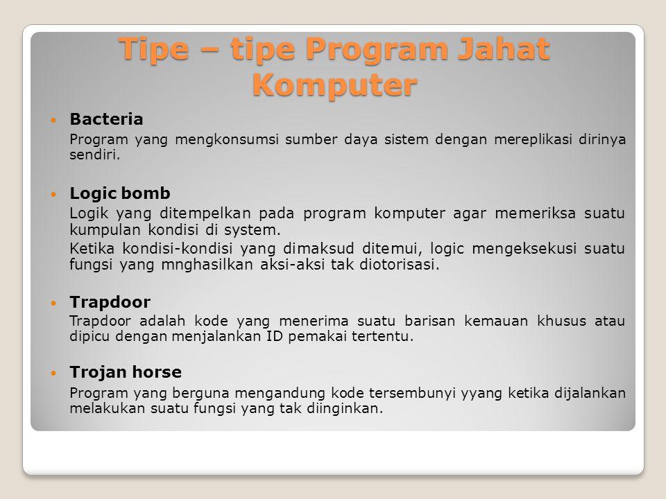 Tipe – tipe Program Jahat Komputer Bacteria Program yang mengkonsumsi sumber daya sistem dengan mereplikasi dirinya sendiri. Logic bomb Logik yang dit