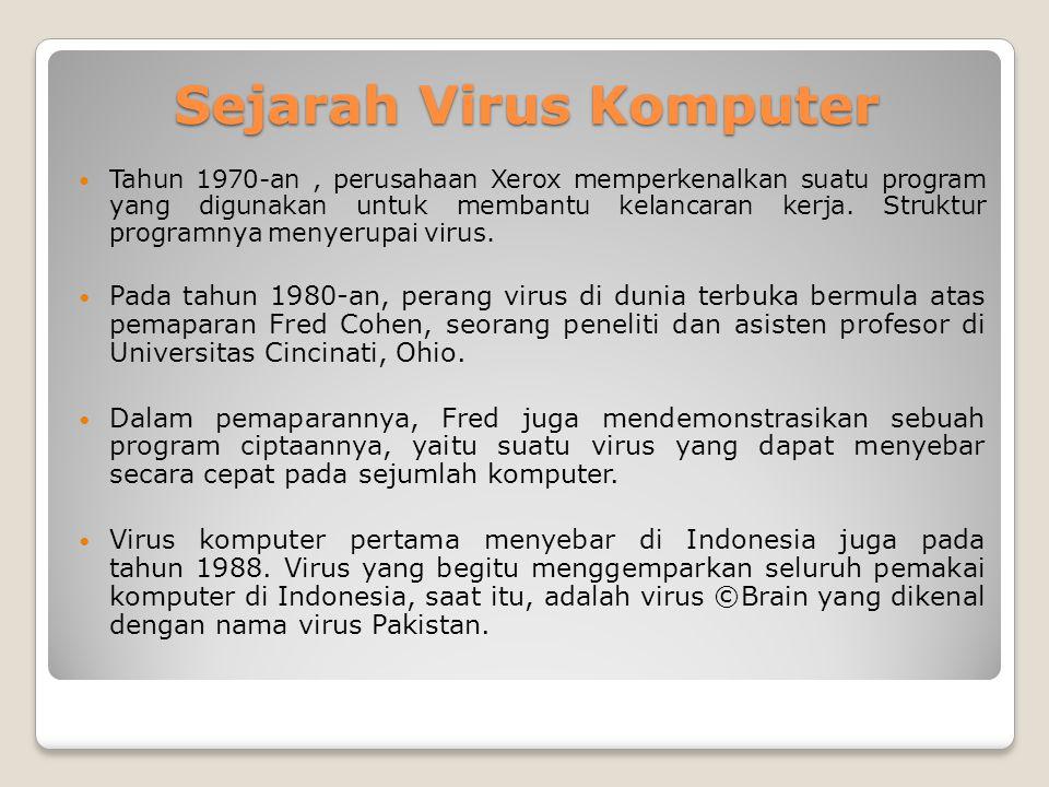 Sejarah Virus Komputer Tahun 1970-an, perusahaan Xerox memperkenalkan suatu program yang digunakan untuk membantu kelancaran kerja. Struktur programny