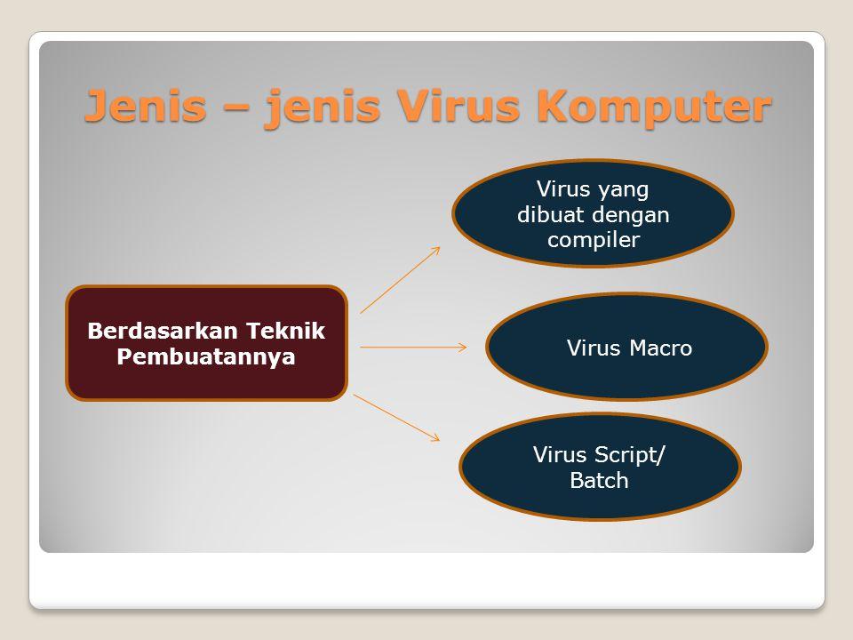 Jenis – jenis Virus Komputer Berdasarkan Teknik Pembuatannya Virus Script/ Batch Virus Macro Virus yang dibuat dengan compiler