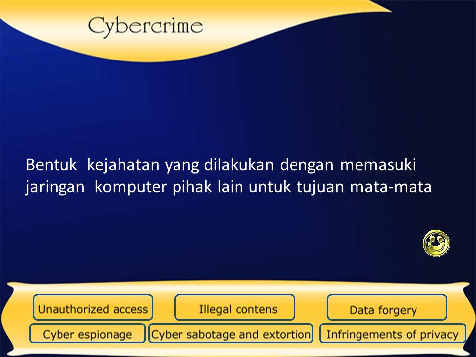 Bentuk kejahatan dunia maya yang dilakukan dengan cara memasukkan virus atau program yang merusak dengan tujuan pengrusakan data