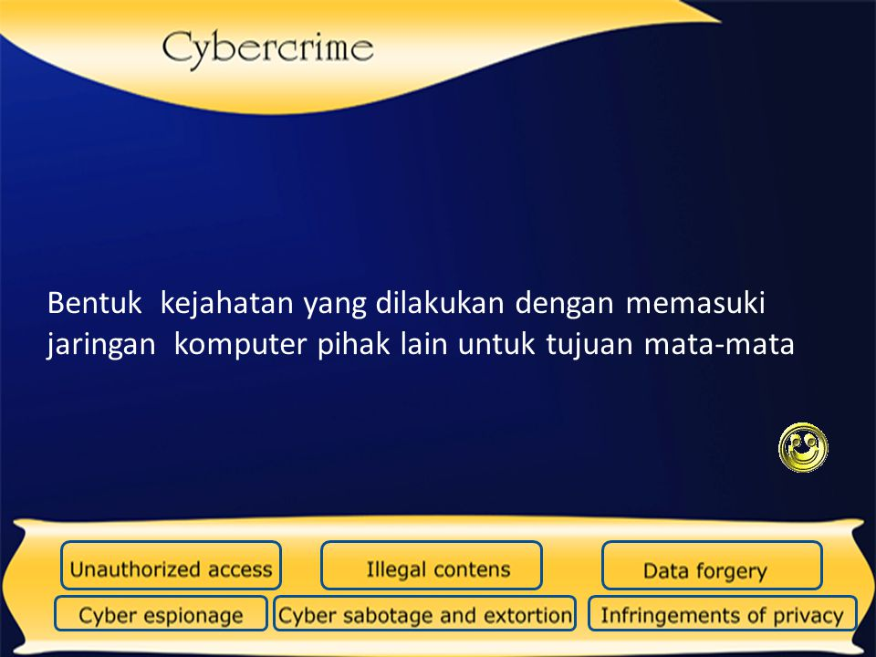 Bentuk kejahatan yang dilakukan dengan memasuki jaringan komputer pihak lain untuk tujuan mata-mata