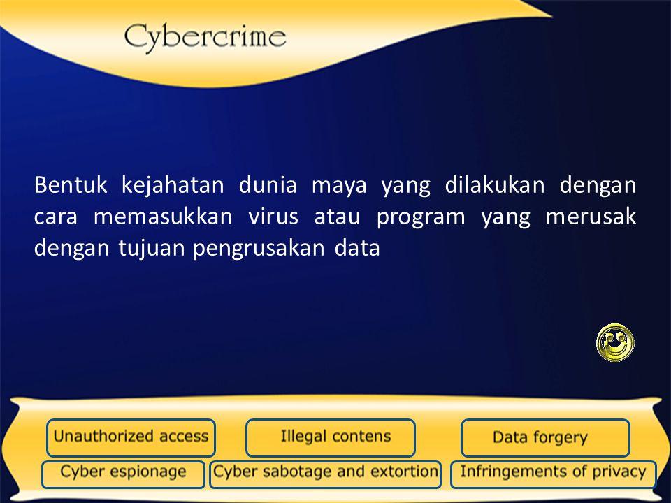 Kejahatan yang dilakukan untuk mendapatkan informasi yang bersifat rahasia Virus komputer