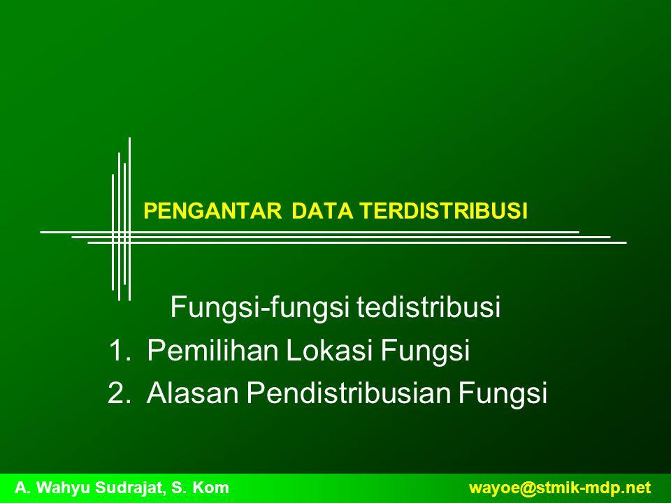 wayoe@stmik-mdp.netA. Wahyu Sudrajat, S. Kom PENGANTAR DATA TERDISTRIBUSI Fungsi-fungsi tedistribusi 1.Pemilihan Lokasi Fungsi 2.Alasan Pendistribusia