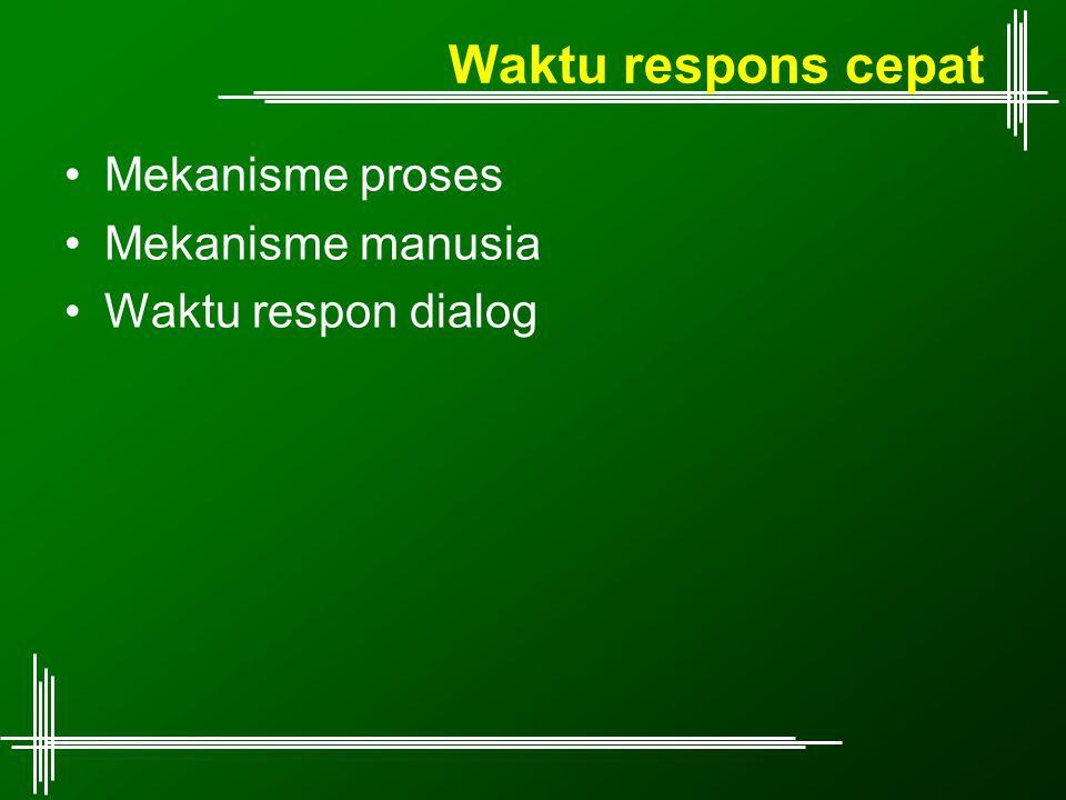 Waktu respons cepat Mekanisme proses Mekanisme manusia Waktu respon dialog