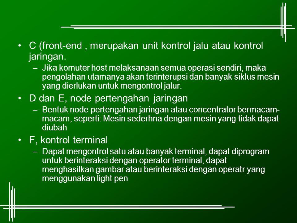 C (front-end, merupakan unit kontrol jalu atau kontrol jaringan. –Jika komuter host melaksanaan semua operasi sendiri, maka pengolahan utamanya akan t