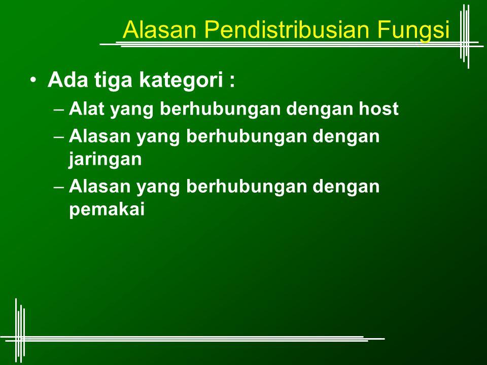 Alasan Pendistribusian Fungsi Ada tiga kategori : –Alat yang berhubungan dengan host –Alasan yang berhubungan dengan jaringan –Alasan yang berhubungan