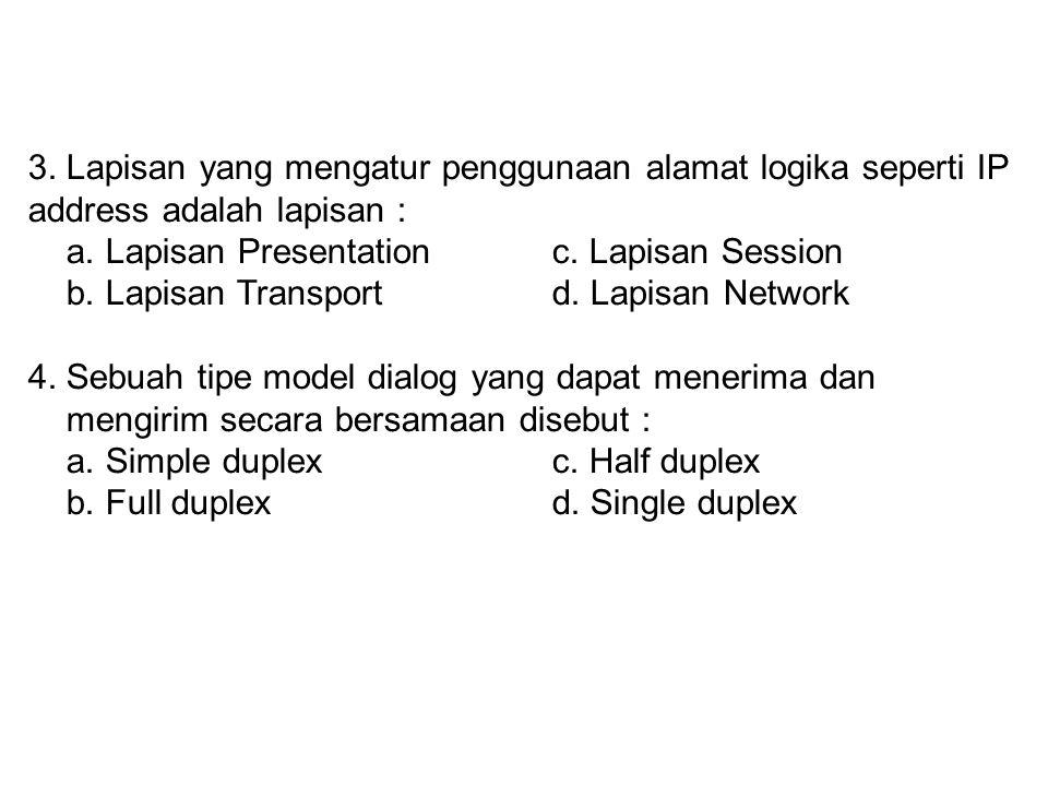 2. Lapisan yang bertanggung jawab atas keutuhan transmisi data adalah : a. Lapisan Presentationc. Lapisan Session b. Lapisan Transportd. Lapisan Netwo