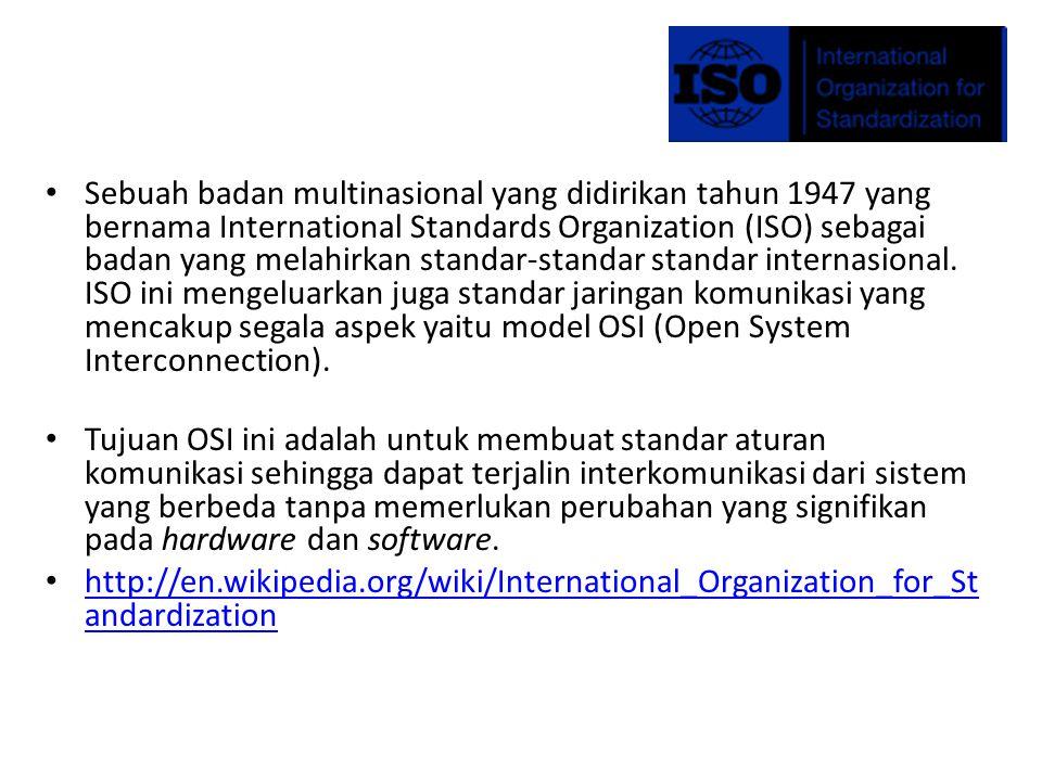 Sebuah badan multinasional yang didirikan tahun 1947 yang bernama International Standards Organization (ISO) sebagai badan yang melahirkan standar-standar standar internasional.