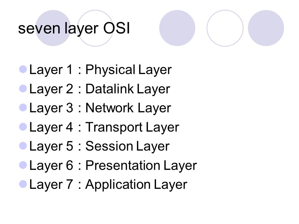 seven layer OSI Layer 1: Physical Layer Layer 2: Datalink Layer Layer 3: Network Layer Layer 4: Transport Layer Layer 5: Session Layer Layer 6: Presen