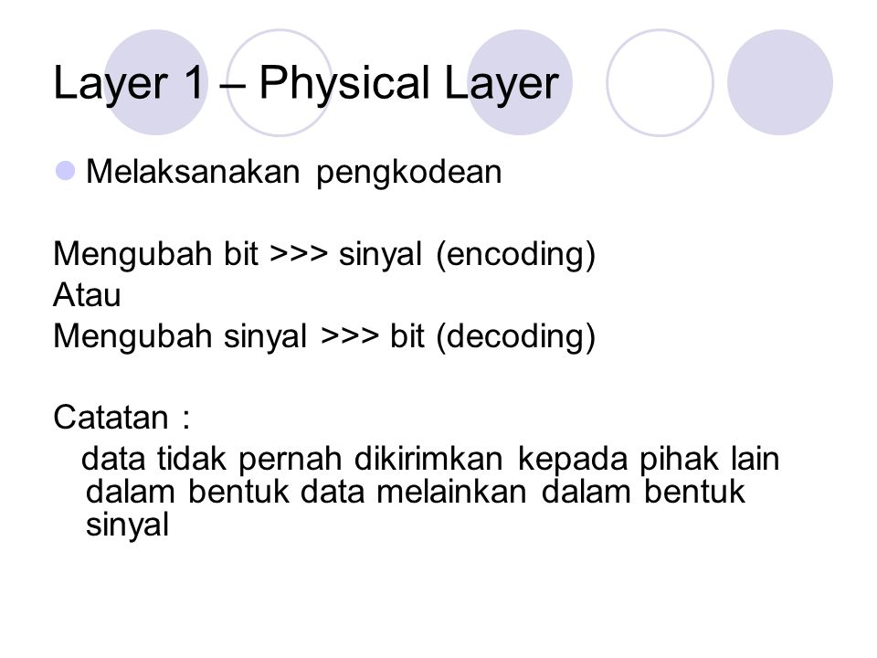 Layer 1 – Physical Layer Melaksanakan pengkodean Mengubah bit >>> sinyal (encoding) Atau Mengubah sinyal >>> bit (decoding) Catatan : data tidak perna