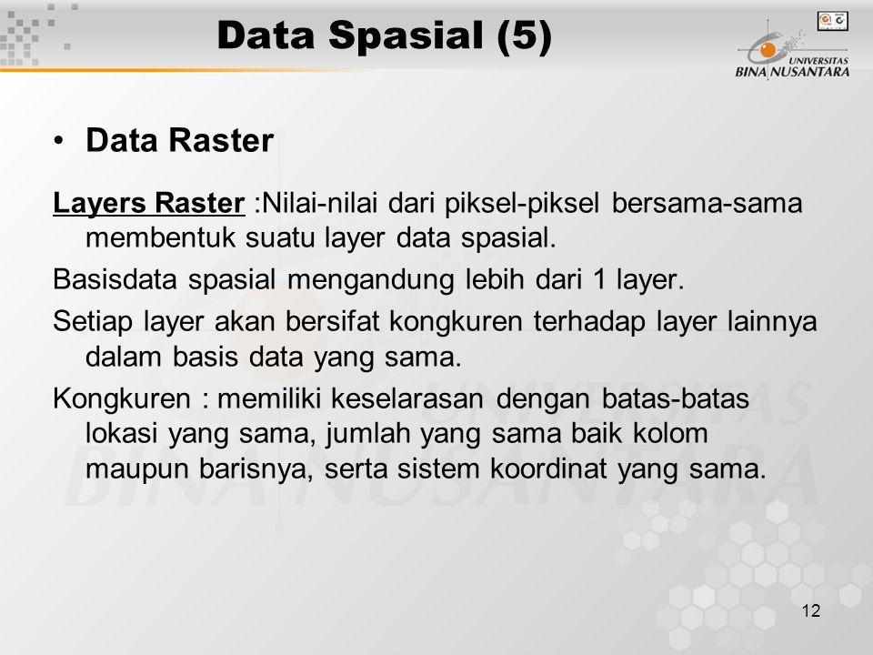 12 Data Spasial (5) Data Raster Layers Raster :Nilai-nilai dari piksel-piksel bersama-sama membentuk suatu layer data spasial. Basisdata spasial menga