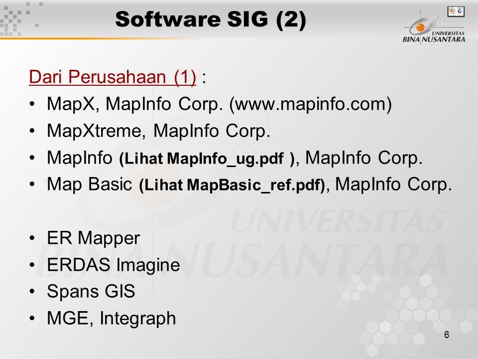6 Software SIG (2) Dari Perusahaan (1) : MapX, MapInfo Corp. (www.mapinfo.com) MapXtreme, MapInfo Corp. MapInfo (Lihat MapInfo_ug.pdf ), MapInfo Corp.