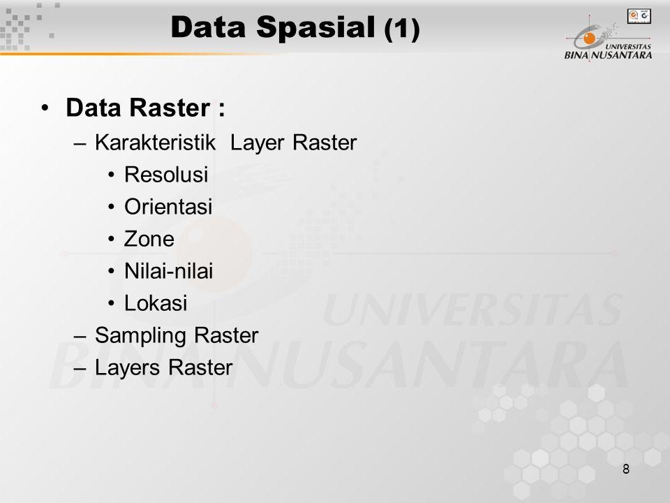 8 Data Spasial (1) Data Raster : –Karakteristik Layer Raster Resolusi Orientasi Zone Nilai-nilai Lokasi –Sampling Raster –Layers Raster