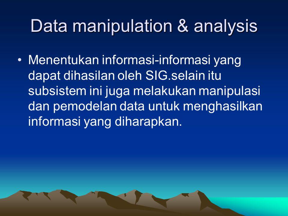 Data manipulation & analysis Menentukan informasi-informasi yang dapat dihasilan oleh SIG.selain itu subsistem ini juga melakukan manipulasi dan pemod
