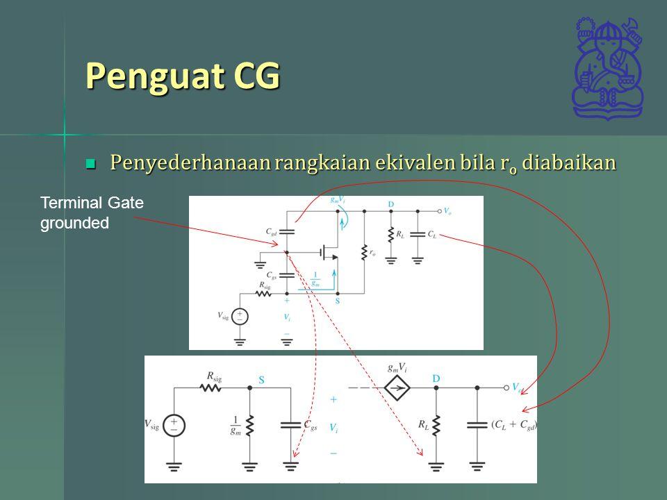 Penguat CG Menentukan pole Menentukan pole 1.Ubah ke V sig, Rsig dan 1/gm ke bentuk Thevenin 2.Gunakan hasil RT untuk menentukan pole 1.Transformasi g m V i dan RL ke bentuk Thevenin 2.Gunakan hasil RT untuk menentukan pole
