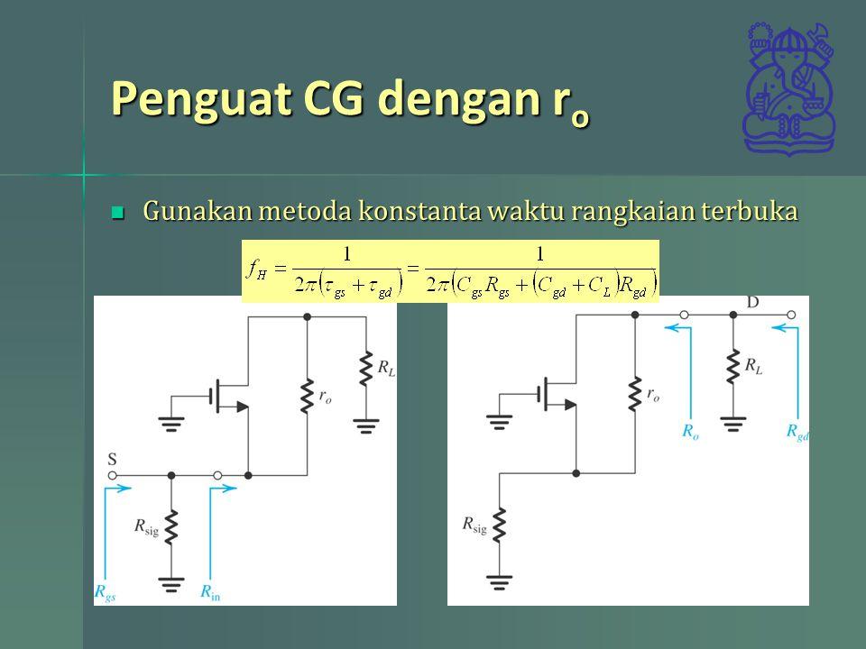 Penguat CG dengan r o menentukan R gs menentukan R gs menentukan R in menentukan R in –Nyatakan Vo dengan Vi memanfaatkan arus (sumber dependen dan resistansi output) dan resistansi beban R L –Carilah v in /i in (arus i in sana dengan arus pada resistansi beban)