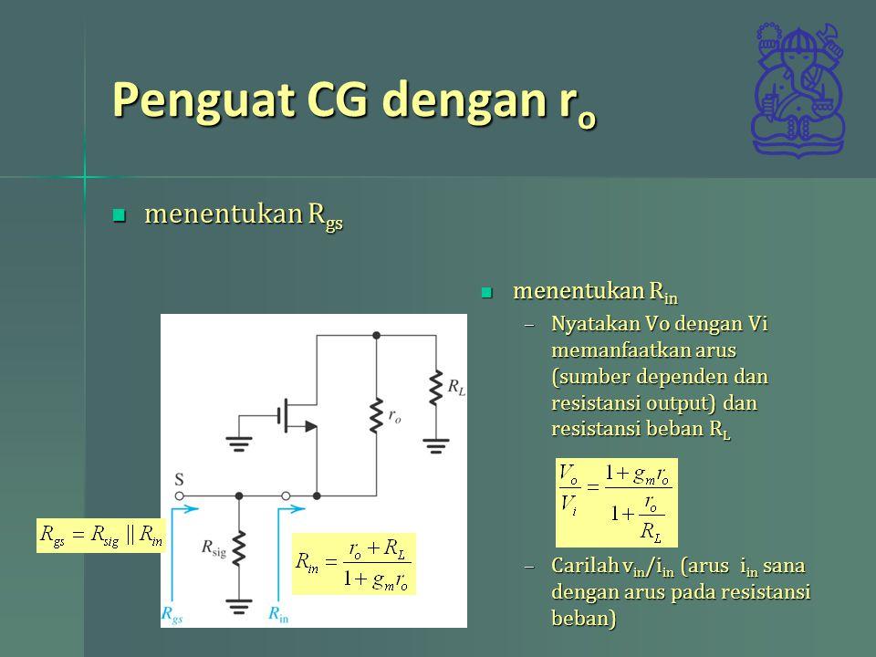 Penguat CG dengan r o menentukan R gs menentukan R gs menentukan R in menentukan R in –Nyatakan Vo dengan Vi memanfaatkan arus (sumber dependen dan re