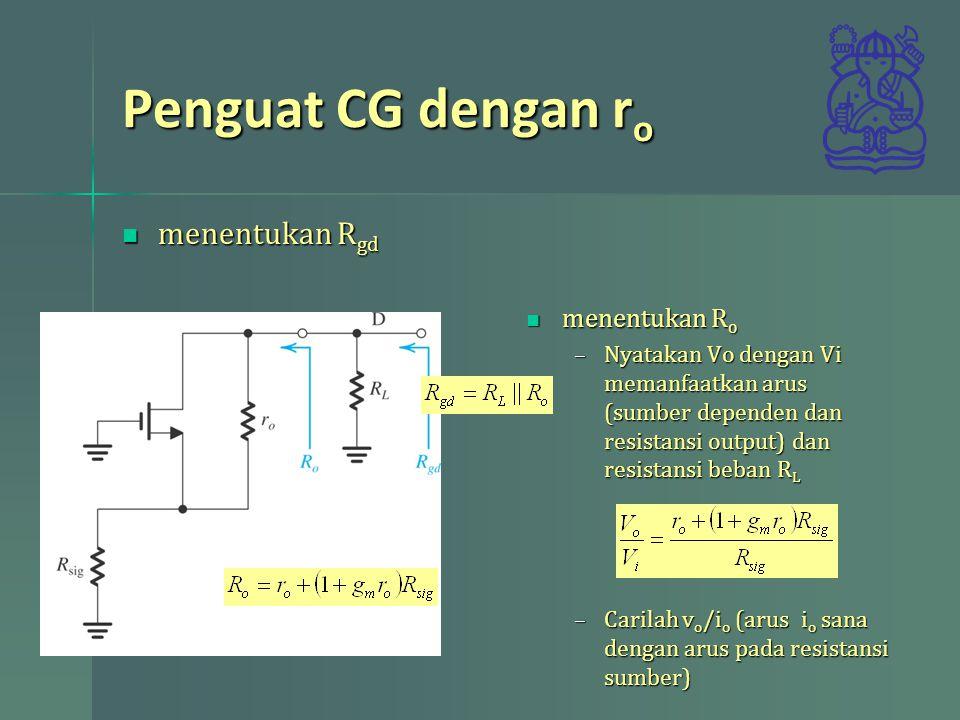 Penguat CG dengan r o menentukan R gd menentukan R gd menentukan R o menentukan R o –Nyatakan Vo dengan Vi memanfaatkan arus (sumber dependen dan resistansi output) dan resistansi beban R L –Carilah v o /i o (arus i o sana dengan arus pada resistansi sumber)
