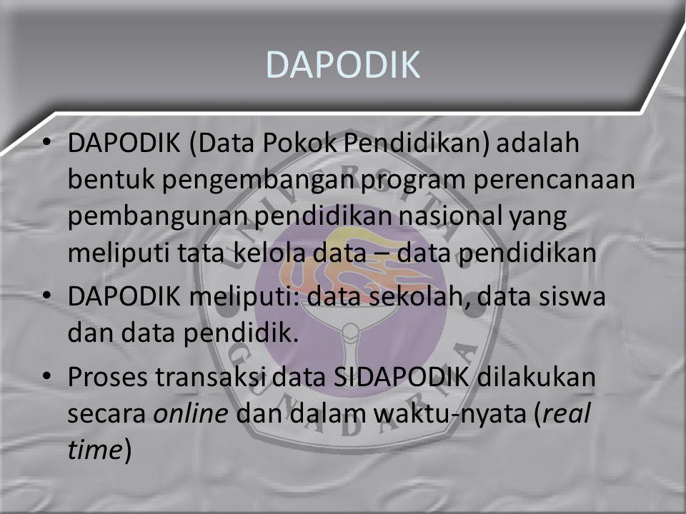 DAPODIK DAPODIK (Data Pokok Pendidikan) adalah bentuk pengembangan program perencanaan pembangunan pendidikan nasional yang meliputi tata kelola data