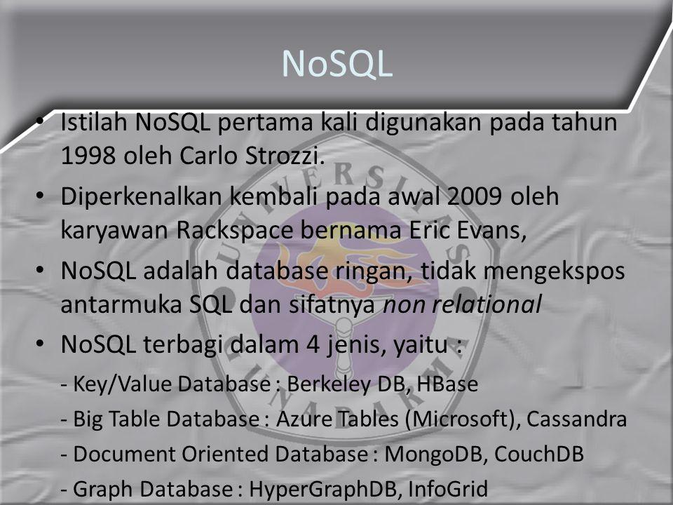 NoSQL Istilah NoSQL pertama kali digunakan pada tahun 1998 oleh Carlo Strozzi. Diperkenalkan kembali pada awal 2009 oleh karyawan Rackspace bernama Er