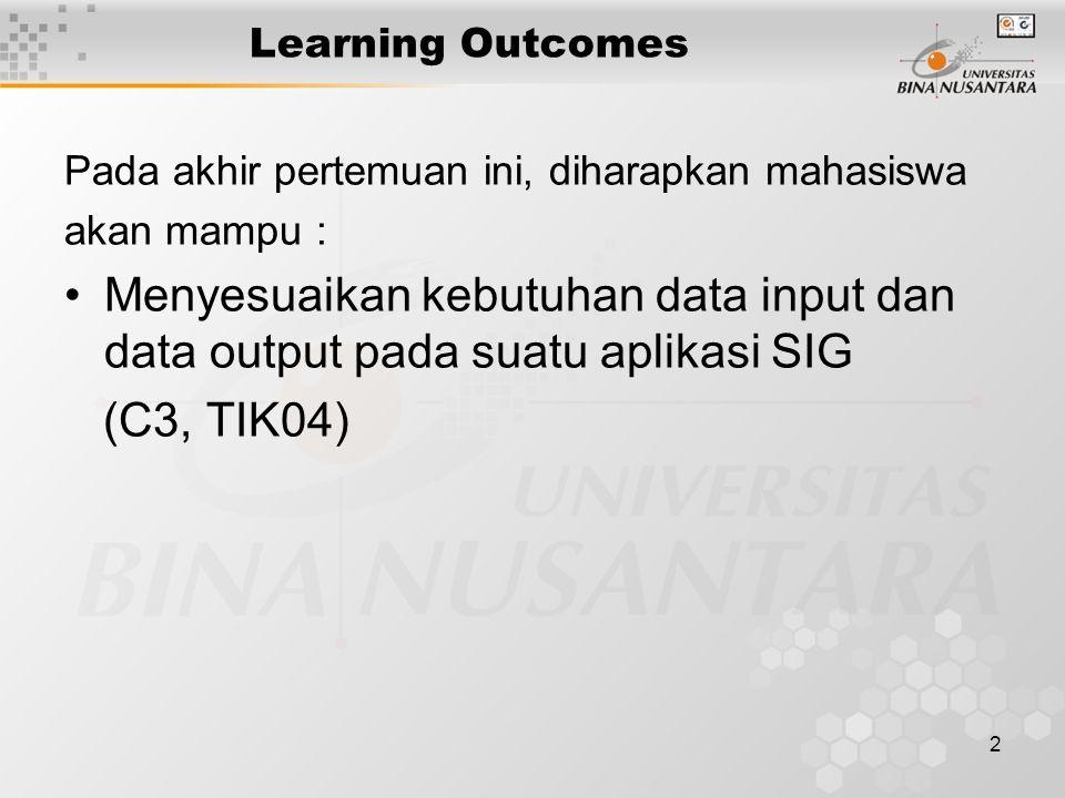 2 Learning Outcomes Pada akhir pertemuan ini, diharapkan mahasiswa akan mampu : Menyesuaikan kebutuhan data input dan data output pada suatu aplikasi SIG (C3, TIK04)
