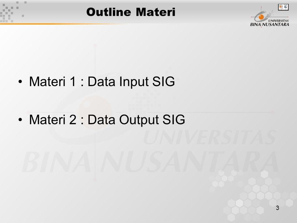 13 Data Output pada SIG (3) Cartographic Symbolism (After Bernhardsen, 1992) Type PointLineArea Shape + Texture Orienta- tion